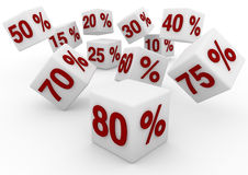 3D white red sale cubes fall down Royalty Free Stock Photo