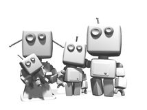 3D white robot family. Stock Photo