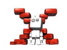 3D white robot in front of a red cross Stock Photography