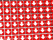 3D White Sign Arrows in red blocks.  Stock Photography