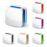 3d white square business icon. 3d white square icons in 6 colour versions Royalty Free Stock Images