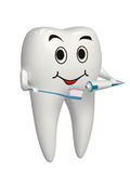3d white tooth brushing his teeth - isolated icon royalty free stock image