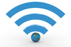 3D wifi sign with earth globe. High signal. Stock Photos
