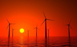 3d wind turbines producing energy in sea Stock Image