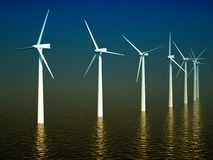 3d wind turbines producing energy in sea Stock Photography