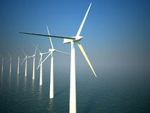 3d wind turbines producing energy in sea Royalty Free Stock Photography