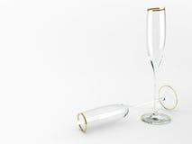 3d wineglasses för illustration två Royaltyfri Illustrationer