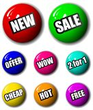 3D Winkelen en Tekens de het van uitstekende kwaliteit & de Markeringen van de Verkoop Royalty-vrije Stock Foto's