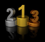 3D winners number podium Royalty Free Stock Photography