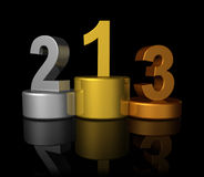 3D winners number podium Stock Photography