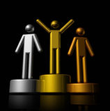 3D winners podium. Podium with bronze, silver and gold winners - three dimensional illustration isolated on black Royalty Free Stock Images