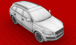 3D wire-frame car HD. On red background Stock Image