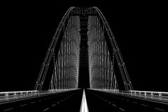 3d wireframe render of a bridge Royalty Free Stock Photo