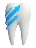 3d wit tandpictogram - Blauwe pijlen Royalty-vrije Stock Foto