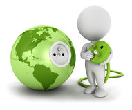 3d witte mensen verbinden stop binnen groene aarde stock illustratie