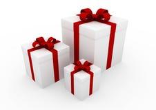 3d witte rode giftdoos Royalty-vrije Stock Afbeeldingen