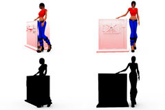 3d woman big locker concept Collections With Alpha And Shadow Channel Royalty Free Stock Photos