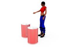 3d woman cane concept Royalty Free Stock Photos