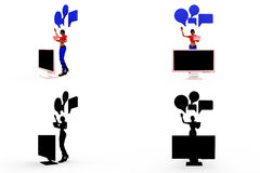3d woman chat screen concept Collections With Alpha And Shadow Channel Stock Image