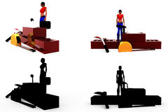 3d woman conctruction tool concept Collections With Alpha And Shadow Channel Stock Images