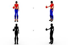 3d woman fruit concept  Collections With Alpha And Shadow Channel Royalty Free Stock Photos