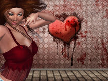3d woman and heart on the wall. Illustration of 3d woman and heart with needles sticking in it and bloody wall Stock Photos