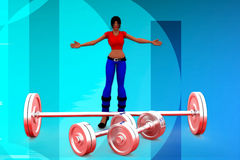 3d woman heavy weight  illustraton Royalty Free Stock Photo