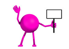 3d Woman Holding A Sign. A 3d render of a pink woman holding a sign isolated on a white background Stock Photos