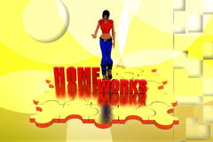 3d woman home work  illustraton Stock Images
