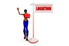 3d woman left location  concept Stock Photo