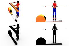 3d woman measure scale concept Collections With Alpha And Shadow Channel Stock Photo