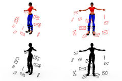 3d woman message concept Collections With Alpha And Shadow Channel Stock Image