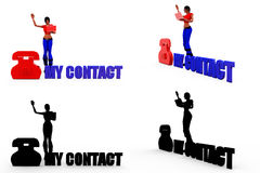 3d woman my contact concept Collections With Alpha And Shadow Channel Stock Photography