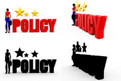 3d woman policy concept Collections With Alpha And Shadow Channel Stock Photos