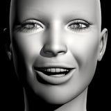 3D woman portrait. 3D woman monochrome portrait with face expression (happy royalty free illustration