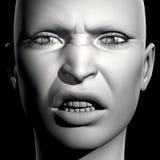 3D woman portrait. 3D woman monochrome portrait with face expression (angry stock illustration