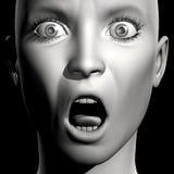 3D woman portrait. 3D woman monochrome portrait with face expression (surprise stock illustration