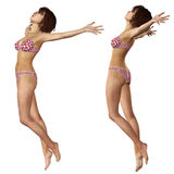 3d woman in red bikini. Digital render of a woman in red bikini on white background Royalty Free Stock Photography