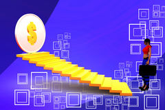 3d woman stairs  illustraton Royalty Free Stock Photography
