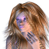 3d woman with stylish violet make-up Royalty Free Stock Images