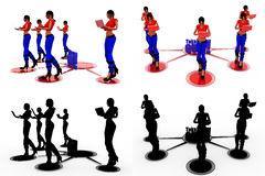 3d woman take quiz concept Collections With Alpha And Shadow Channel Stock Photography