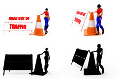 3d woman traffic sign concept Collections With Alpha And Shadow Channel Stock Photo