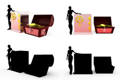 3d woman with treasure concept Collections With Alpha And Shadow Channel Royalty Free Stock Images