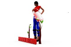 3d woman watering concept Stock Photo