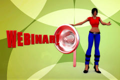 3d woman webinar illustration Stock Photos