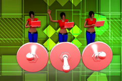 3d women find error illustration Royalty Free Stock Image