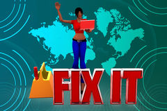 3d women Fix It illustration Royalty Free Stock Photos