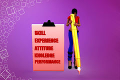3d Women with skill experience attitude knowledge illustration Royalty Free Stock Images