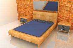 3d wood bedroom. 3d wood rendering bedroom with brick wall Stock Photos