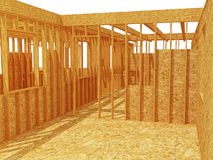 3d wood house structure Stock Images